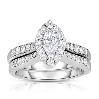 Eloquence 14k White Gold 1ct TDW Marquise-cut Halo Bridal Set (H-I, I1-I2)