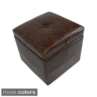 Vintage Limited Modern Faux Leather Storage Cube Ottoman