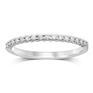 10k White Gold 1/6ct TDW Diamond Prong Set Band (HI, I2-I3)