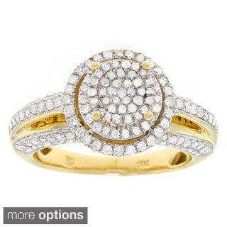 10k Yellow Gold 1ct TDW Diamond Halo Engagement Ring (G-H, I1-I2)