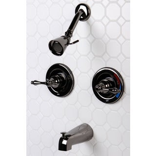 Black Nickel Double-handle Pressure Balance Tub and Shower Faucet