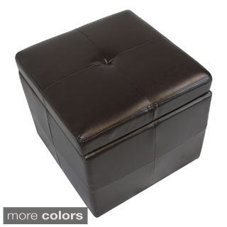 Modern Faux Leather Storage Cube Ottoman