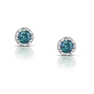 Eloquence 14k White Gold 5/8ct TDW Blue Solitaire Halo Stud Earrings (Blue, I1-I2)