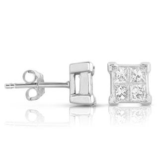 Eloquence 14k White Gold 1ct TDW Princess-cut Diamond Stud Earrings (H-I, I1-I2)