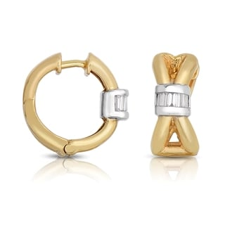 Eloquence 14k Two-ttone Gold 1/3ct TDW Diamond Hoop Earrings (H-I, I1-I2)