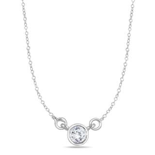 14k White Gold 1/4ct Bezel-set Diamond Solitaire Pendant (I-J, I2-I3)