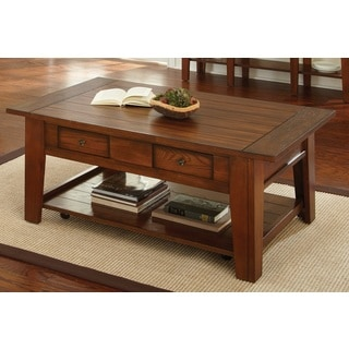 Dennison Red Oak Coffee Table with Casters
