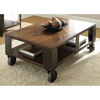 Baxter Oversized Distressed Medium Cherry Caster Coffee Table
