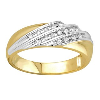 Bridal Symphony 10k Two-tone Gold Men's 1/6ct TDW Ring (I-J, I2-I3)