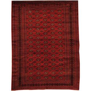 Herat Oriental Afghan Hand-knotted Semi-Antique Tribal Balouchi Red/ Navy Wool Rug (7' x 9'4)