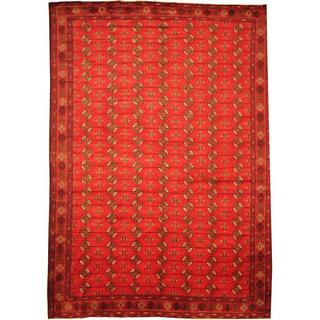 Herat Oriental Afghan Hand-knotted Semi-Antique Tribal Balouchi Red/ Navy Wool Rug (9'3 x 13'3)