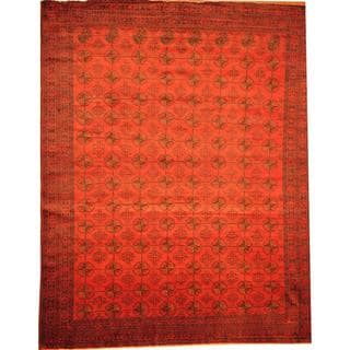 Herat Oriental Afghan Hand-knotted Semi-Antique Tribal Balouchi Red/ Navy Wool Rug (9'9 x 12'3)
