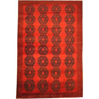 Herat Oriental Afghan Hand-knotted Semi-Antique Tribal Balouchi Red/ Navy Wool Rug (8'5 x 12'7)