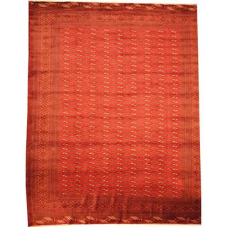 Herat Oriental Afghan Hand-knotted Semi-Antique Tribal Balouchi Red/ Navy Wool Rug (10'2 x 12'4)