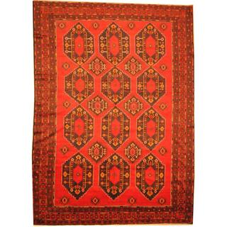 Herat Oriental Afghan Hand-knotted Semi-Antique Tribal Balouchi Red/ Navy Wool Rug (9'5 x 13'1)