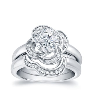 Auriya 14k White Gold 3/4ct TDW Round Diamond Bridal Ring Set (H-I, SI1-SI2)