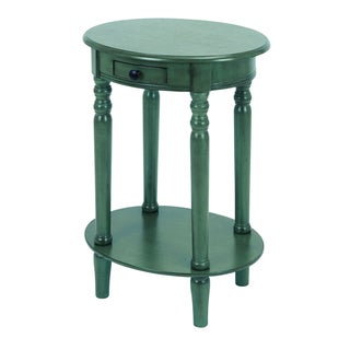 Hand-finished Mahogany Teal Wood Oval End Table