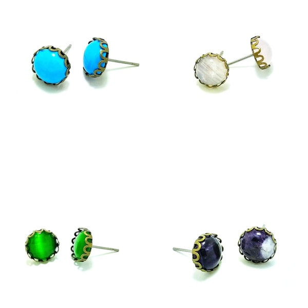 Pretty Little Style Silvertone Turquoise Cabochon Stud Earrings