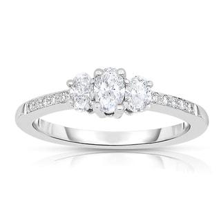 Eloquence 14k White Gold 1/2ct TDW 3-stone Oval Cut Diamond Ring (H-I, I1-I2)