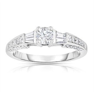 Eloquence 14k White Gold 3/4ct TDW Solitaire Brilliant Diamond Engagement Ring (H-I, I1-I2)