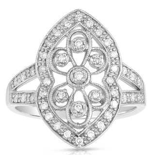 Eloquence 14k White Gold 1/4ct TDW Vintage Milgrain Diamond Ring (H-I, I2-I3)