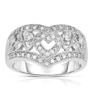Eloquence 10k White Gold 1/4ct TDW Chevron and Clustered Heart Designed Diamond Band (J-K, I2-I3)