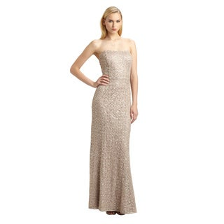Kay Unger Strapless Sequin Embroidered Lace Dotted Blush Dress (Size 6)