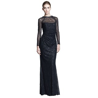 David Meister Women's Black Embroidered Sequin Necklace Gown