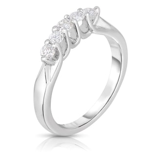 Eloquence 18k White Gold 1/2ct TDW 5-stone Diamond Band (H-I, SI1-SI2)