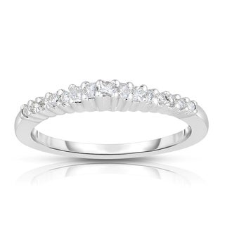 Eloquence 18k White Gold 1/5ct TDW Round And Princess-cut Diamond Band (H-I, I1-I2)
