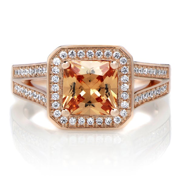 1.96ct Rose Gold Princess Cut Champagne CZ Engagement Ring