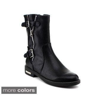 Reneeze Women's 'Janet-03' Buckled Mid-Calf Rider Boots
