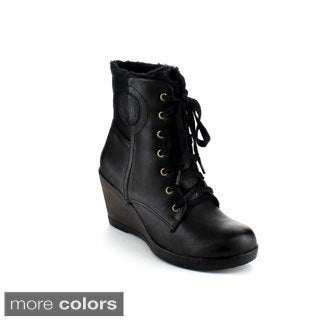 Reneeze Joyce-02 Women's Lace Up Gothic Wedge Ankle Boots