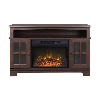 Zarate Walnut Electric Media Console Fireplace