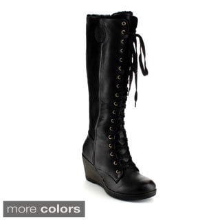 Reneeze Joyce-01 Women'sKnee-High Lace Up Riding Gothic Wedge Boots