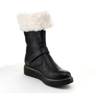 Reneeze Women's 'Jojo-01' Fuzzy Collar Mid-calf Boots