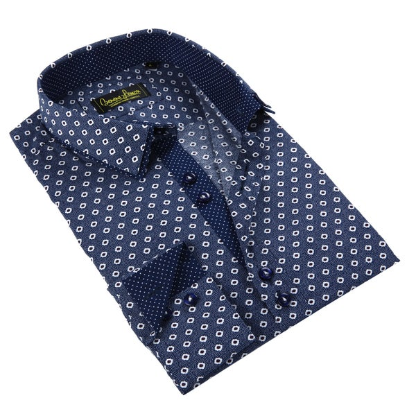 Banana Lemon Men's Blue Patterned Button-down Shirt