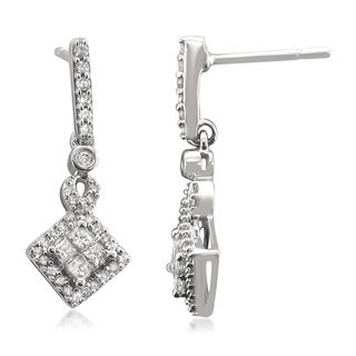14k White Gold 1/2ct TDW Diamond Drop Earrings (H-I, SI2-SI3)