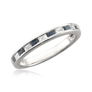 14k White Gold 1/5ct TDW Diamond and Blue Sapphire Wedding Band (H-I, VS1-VS2)