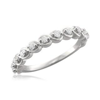 14k White Gold 1/4ct TDW Diamond Twisted Wedding Band (H-I, SI1-SI2)