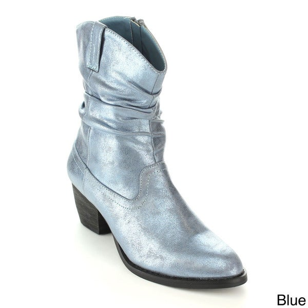 C-Label Women's 'Hannah-6' Metallic Slouchy Riding Boots