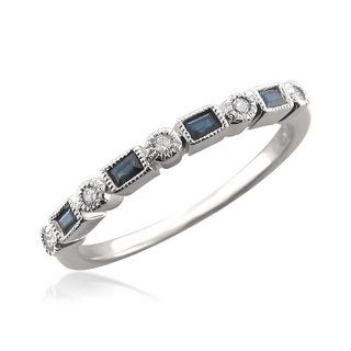 Brides Across America 14k White Gold 1/10ct TDW Diamond and Blue Sapphire Wedding Band (H-I, SI1-SI2)