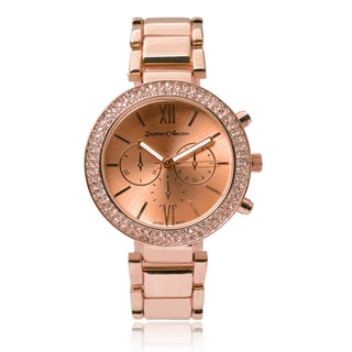 Journee Collection Women's Rhinestone Round Dial Link Watch