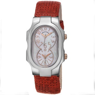 Philip Stein Women's 1-MOPRG-CWR 'Signature' Mother Of Pearl Dial Red Leather Strap Quartz Watch