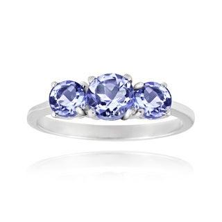 Glitzy Rocks Sterling Silver Tanzanite 3-stone Ring
