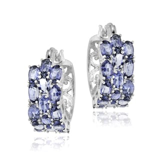 Glitzy Rocks Sterling Silver Tanzanite 3-tier Hoop Earrings