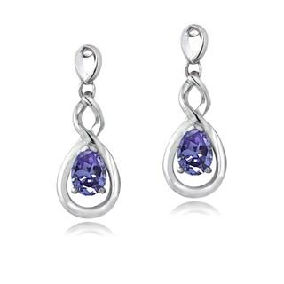 Glitzy Rocks Sterling Silver Tanzanite Twist Teardrop Earrings