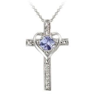 Glitzy Rocks Sterling Silver Tanzanite and Diamond Accent Heart Cross Necklace