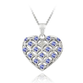 Glitzy Rocks Sterling Silver Tanzanite and Diamond Accent Puffed Heart Locket Necklace