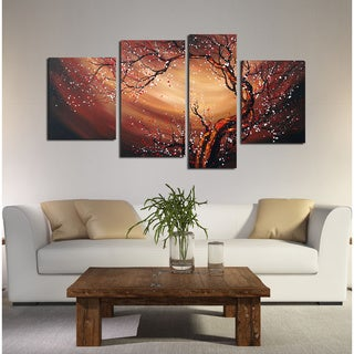 Large Canvas Painting-'Floral Whirlwind' 4-piece
